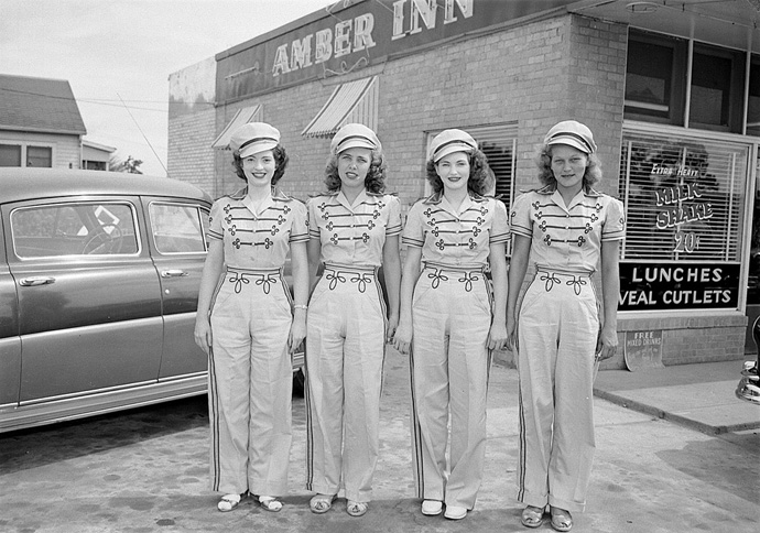 Amber Inn car hops 1950s